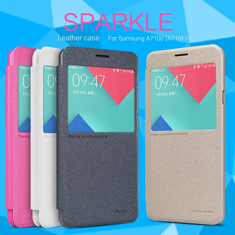 Original-Nillkin-New-Sparkle-Leather-Case-For-Samsung-A710X-A7100-A7-2016-Phone-Bag-Cases