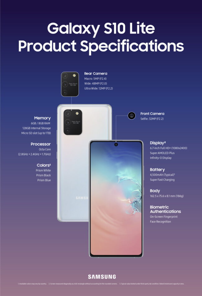 galaxy s10 lite spec